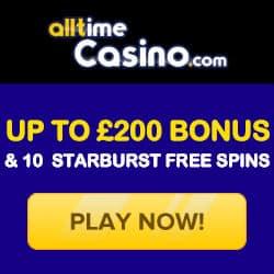 All Time Casino 10 Starburst Slot Free Spins