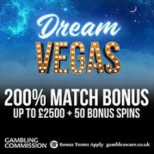 Dream Vegas Casino welcome offer - £2500 and 50 free spins on Starburst slot