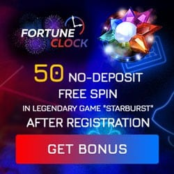 Fortune Clock Casino 50 Free Spins No Deposit on Starburst