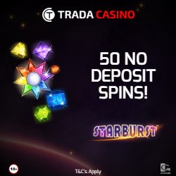 Trada Casino 50 Free Spins No Deposit on Starburst Slot